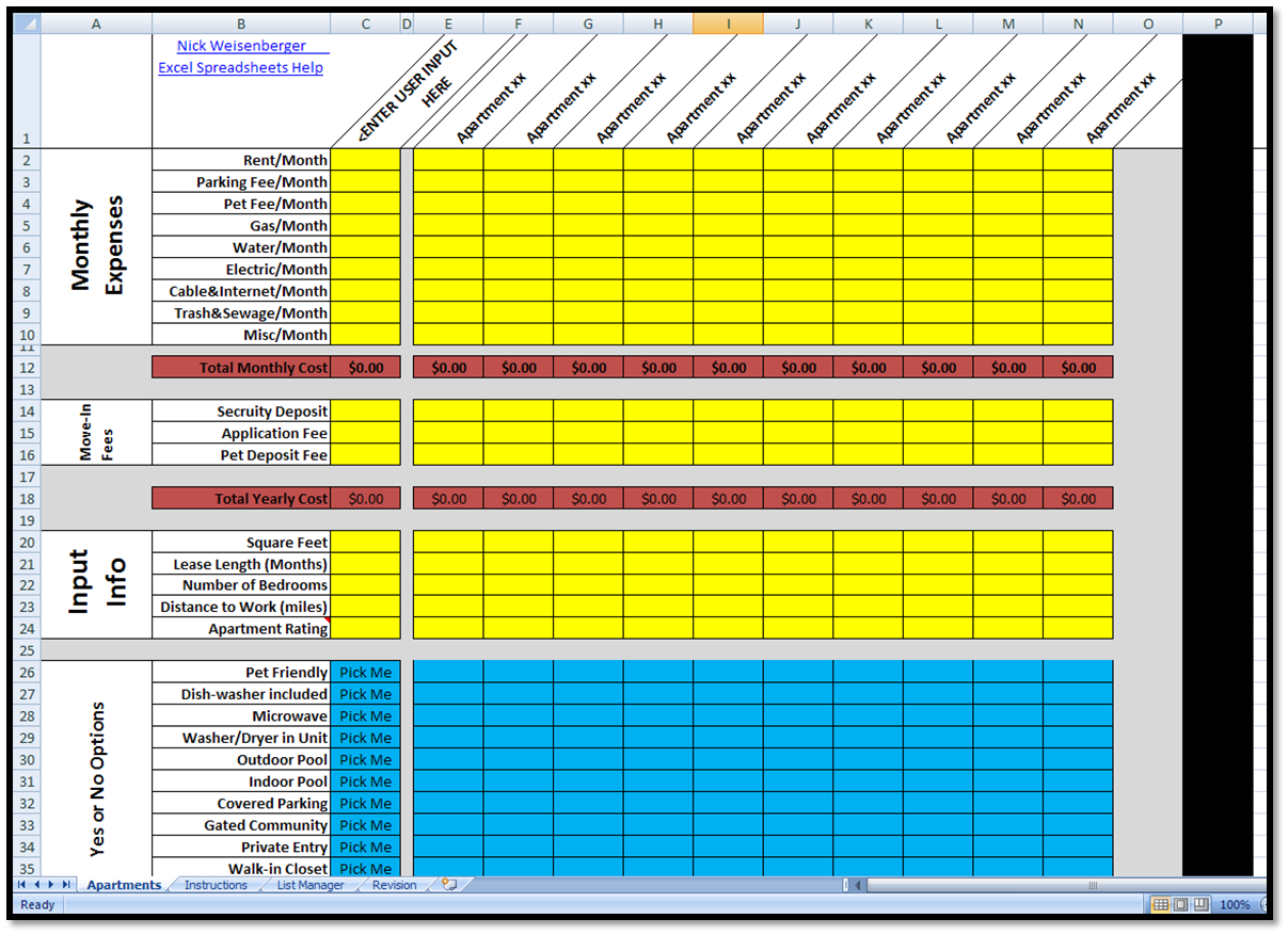 document tracking spreadsheet