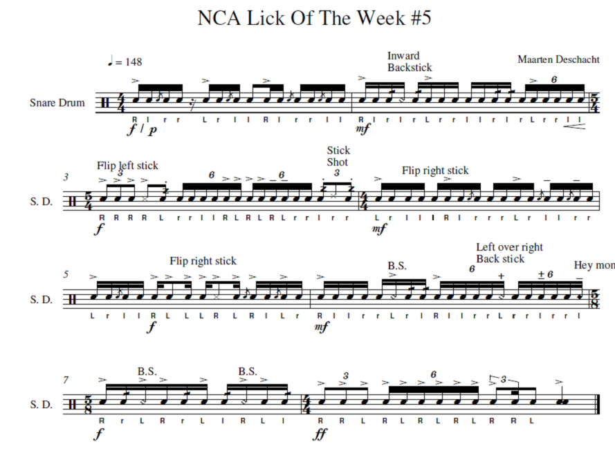 percussion and drum stuff snare drum sheet music northcoast academy lick of the week 5. Black Bedroom Furniture Sets. Home Design Ideas