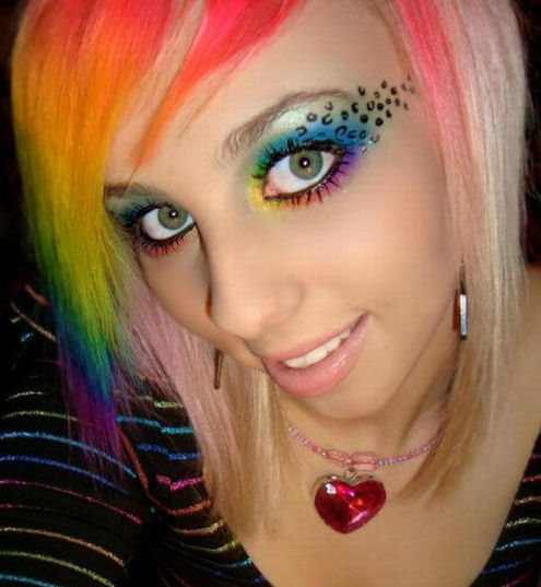 hair emo rainbow color