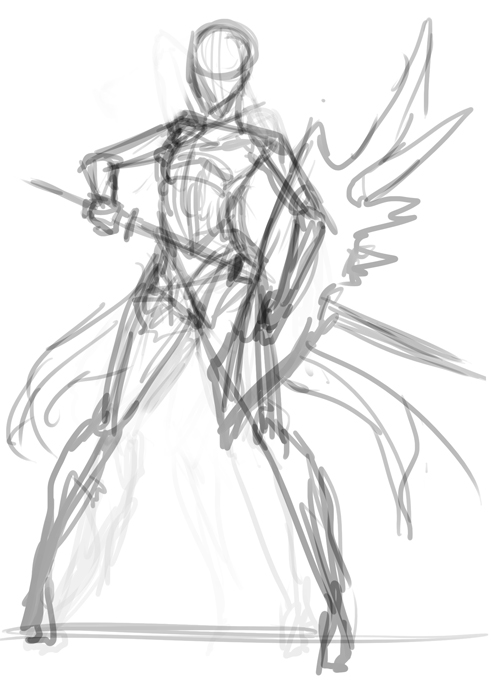 Shield Sword And Poses Drawing