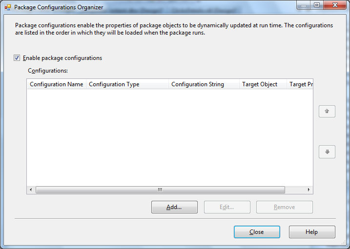 Tips and Tricks for SQL-BI: SSIS Package Configuration in