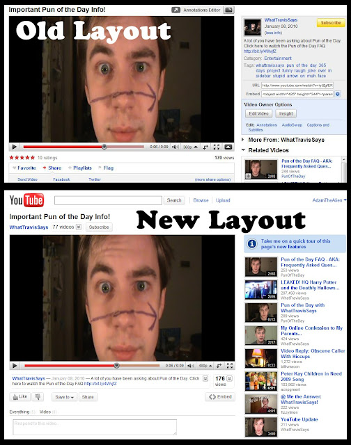 A comparison of the old layout, including the traditional sidebar (above), and the new layout (below).