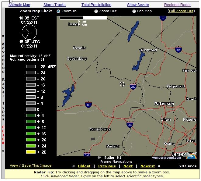 The Smoke Rise and Kinnelon Blog: Local Kinnelon Weather Radar