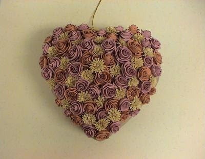 Folded Paper Rose and Fringed Flower Heart Ornament