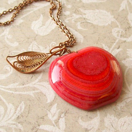 layered paper apple necklace