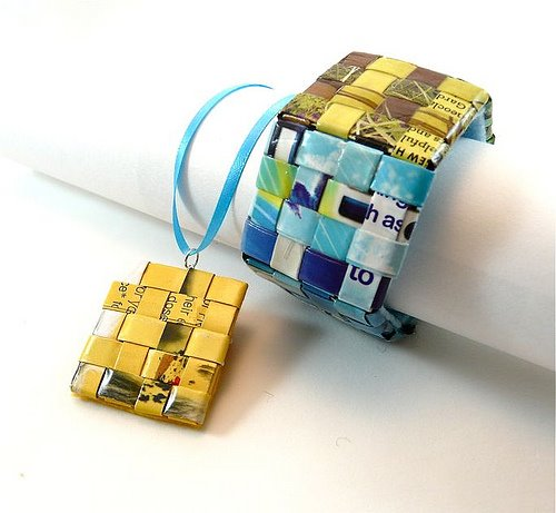 woven paper bracelet and necklace made from magazine pages