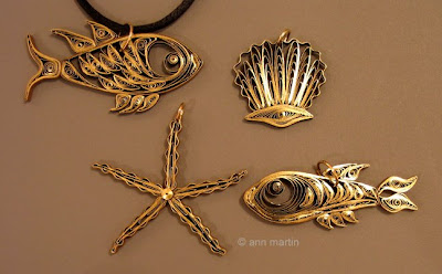 Quilled Fish and Seashell Pendants