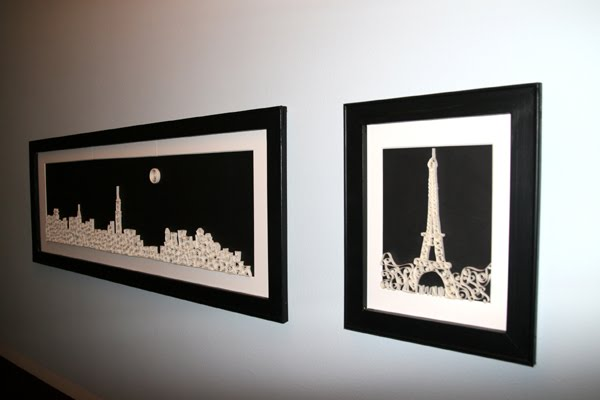 framed and quilled nyc skyline and eiffel tower
