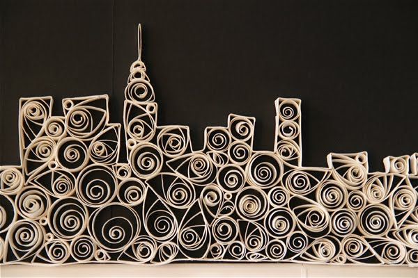 quilled detail of new york city skyline