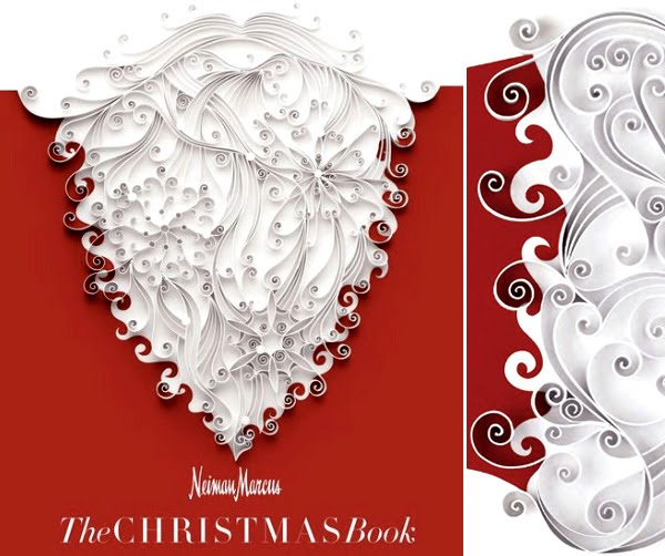 quilled Santa beard on cover of Neiman Marcus The Christmas Book