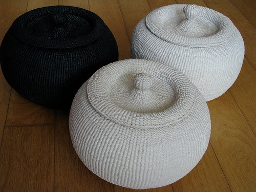 three woven hanji chamber pots, two white and one black