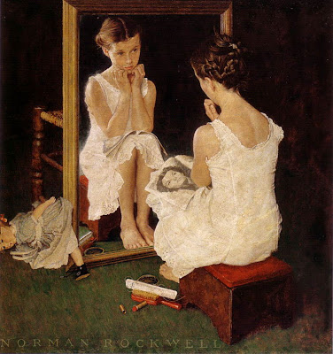 Girl at Mirror by Norman Rockwell, image via emperorsart.blogspot.com.
