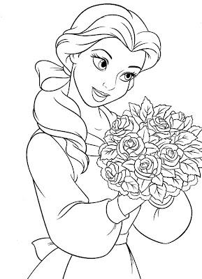 Disney Princess Cinderella With Rose Flower Coloring Page