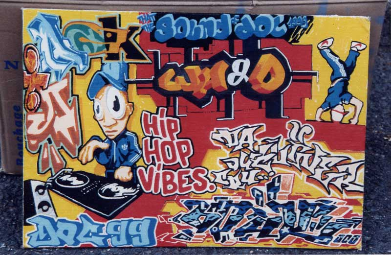 Graffiti Letters HIP HOP Vibes Mural In Street Wall