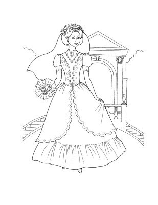 Princess gown coloring pages ~ Wedding Dress Princess Coloring Pages >> Disney Coloring Pages