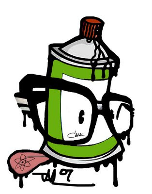 schivandorospi art graffiti spray can on face character design