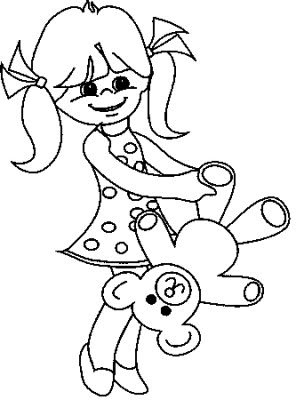 Transmissionpress Little Girl With Bear Kids Coloring Pages