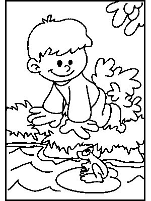 transmissionpress Boy and Frog Kids Coloring Pages