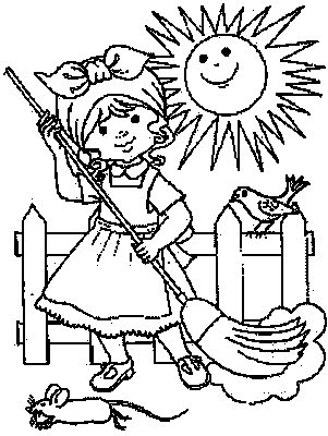 transmissionpress Cleaning Day Kids Coloring Pages