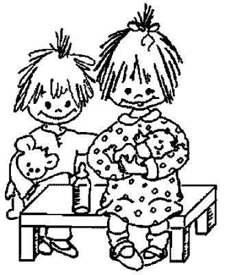 Nengaku Kids Coloring Pages Two Funny Face Little Girls