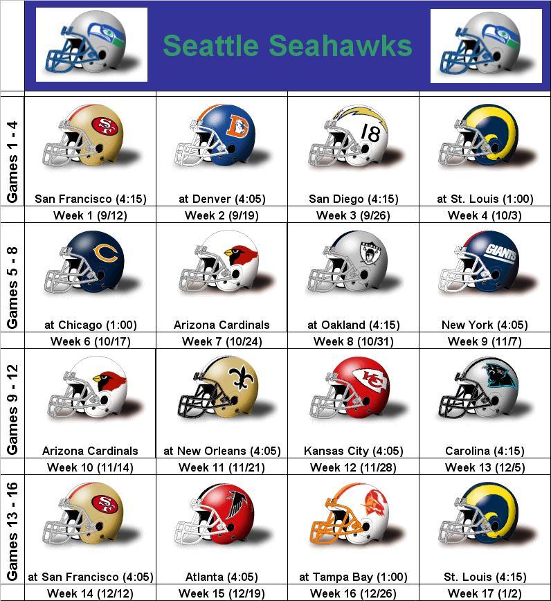 Seattle Seahawks Schedule: Seattle Seahawks Schedule 2012 Printable