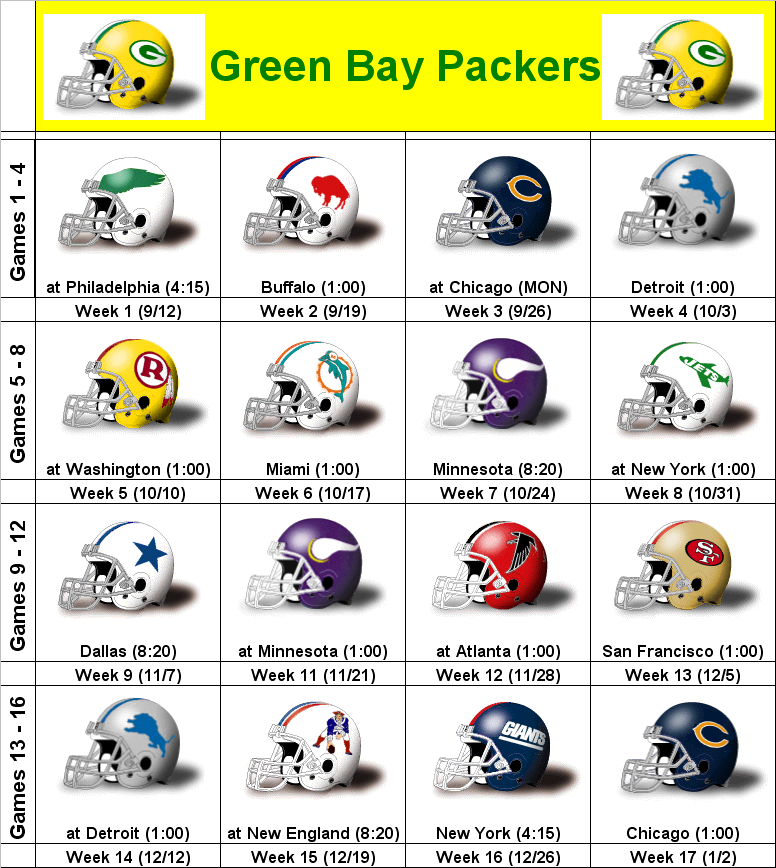 picture relating to Green Bay Packer Printable Schedule titled SimonOnSports: 2010 Eco-friendly Bay Packers Printable Helmet Routine