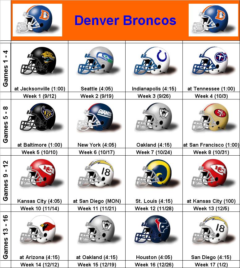 Denver Broncos Schedule: SimonOnSports: 2010 Denver Broncos Printable Helmet Schedule
