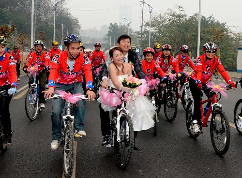 Couple married on bicycle picture