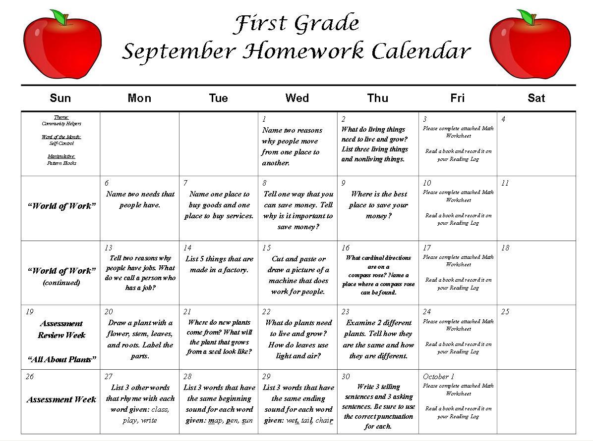 First Grade News At Lbj First Grade September Homework Calendar