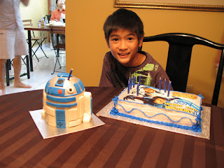 Heres The Birthday Boy With His Two Cakes An R2D2 Cake By Sandys Sweets A Gift From My Sister And Star Wars Clone Themed