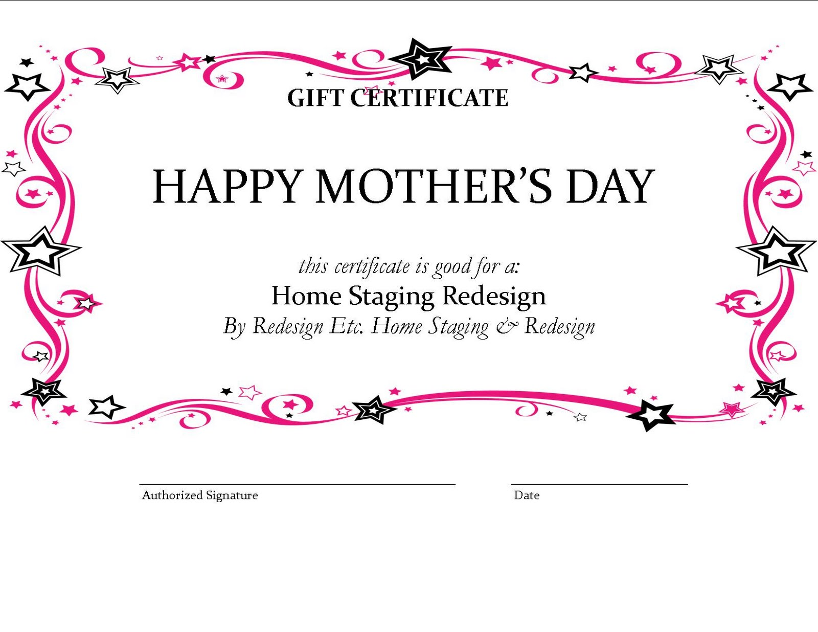 Home Staging Blog Of Houston By Redesign Etc Home Staging Mother%27s Day Gift  Certificate Home Staging Mothers Day Gifthtml Gift Certificate Format  Gift Certificate Format