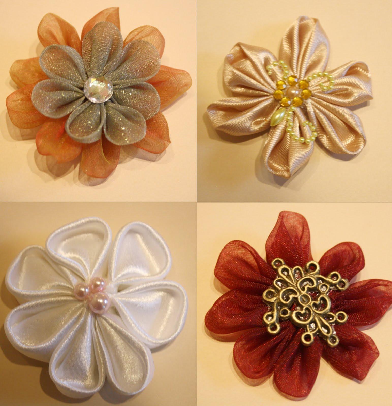 47 цветы канзаши из ткани.