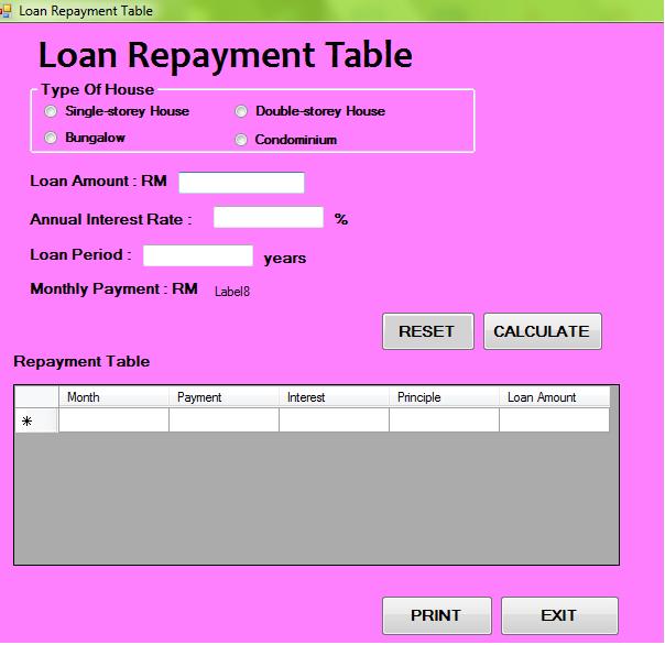 Dexner: My Visual Basic Project (Home Loan Calculator)