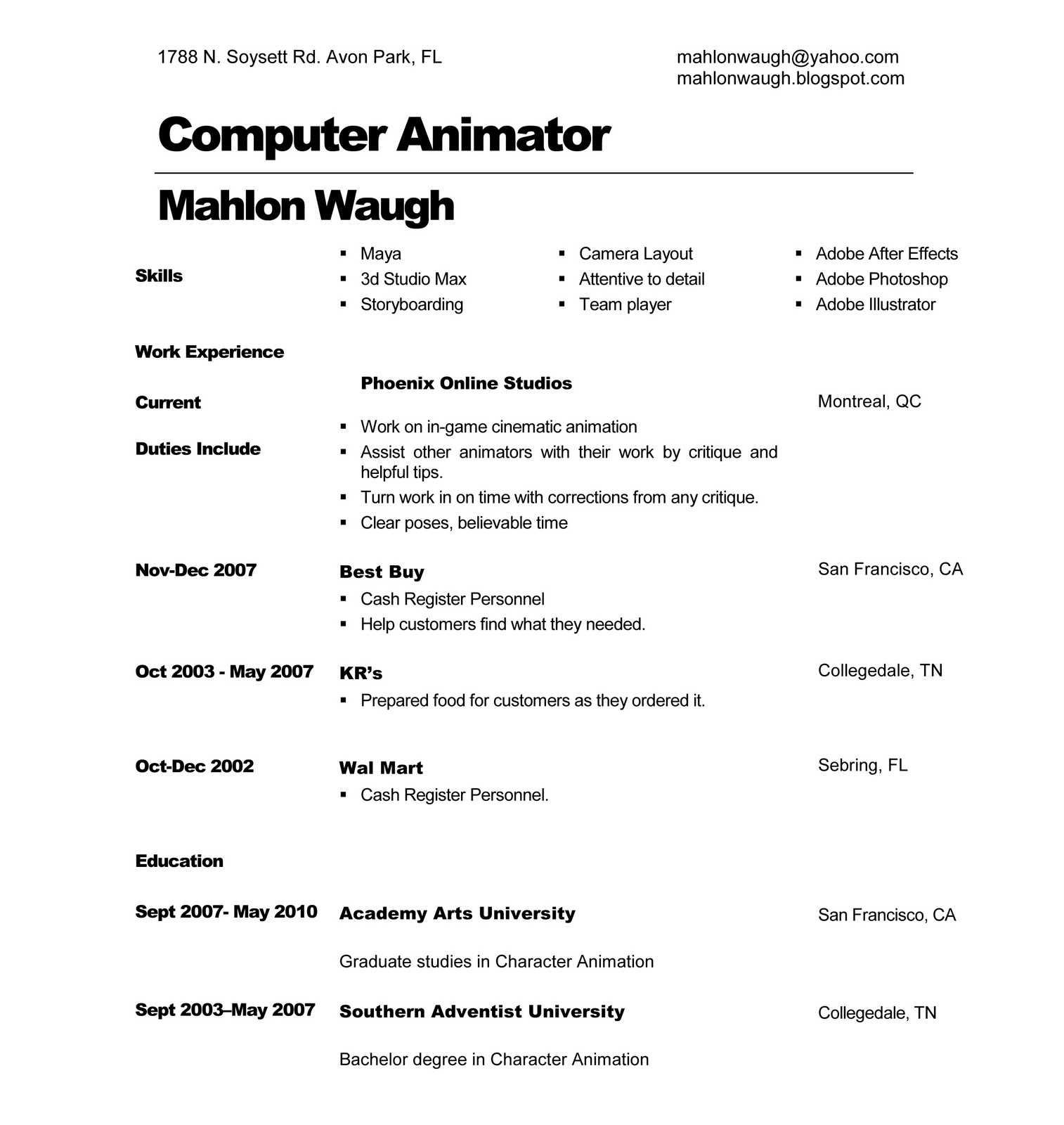 character animation linkedin 3d resume d artist resume clean although