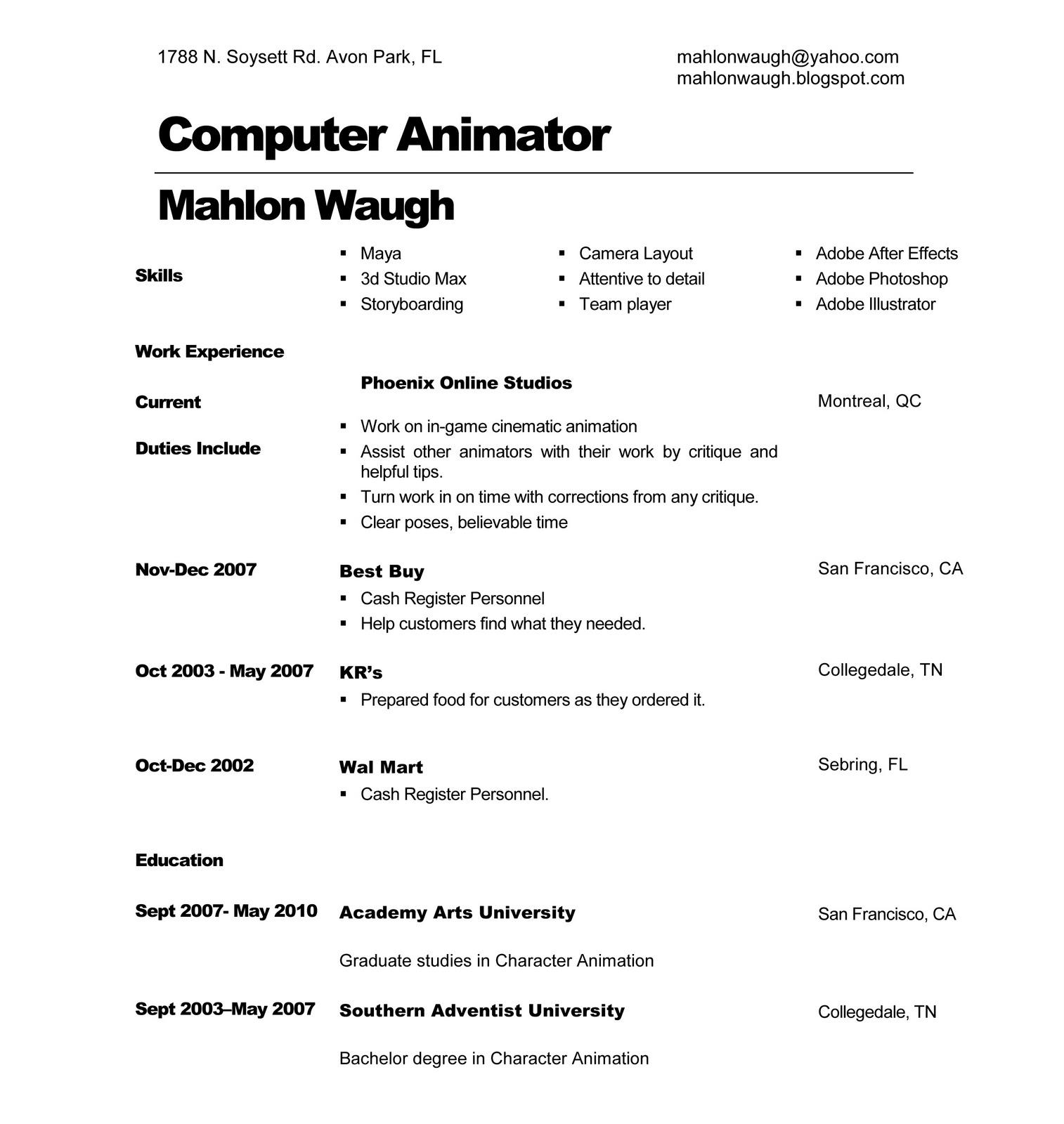 3d Animator Resume - Resume Sample