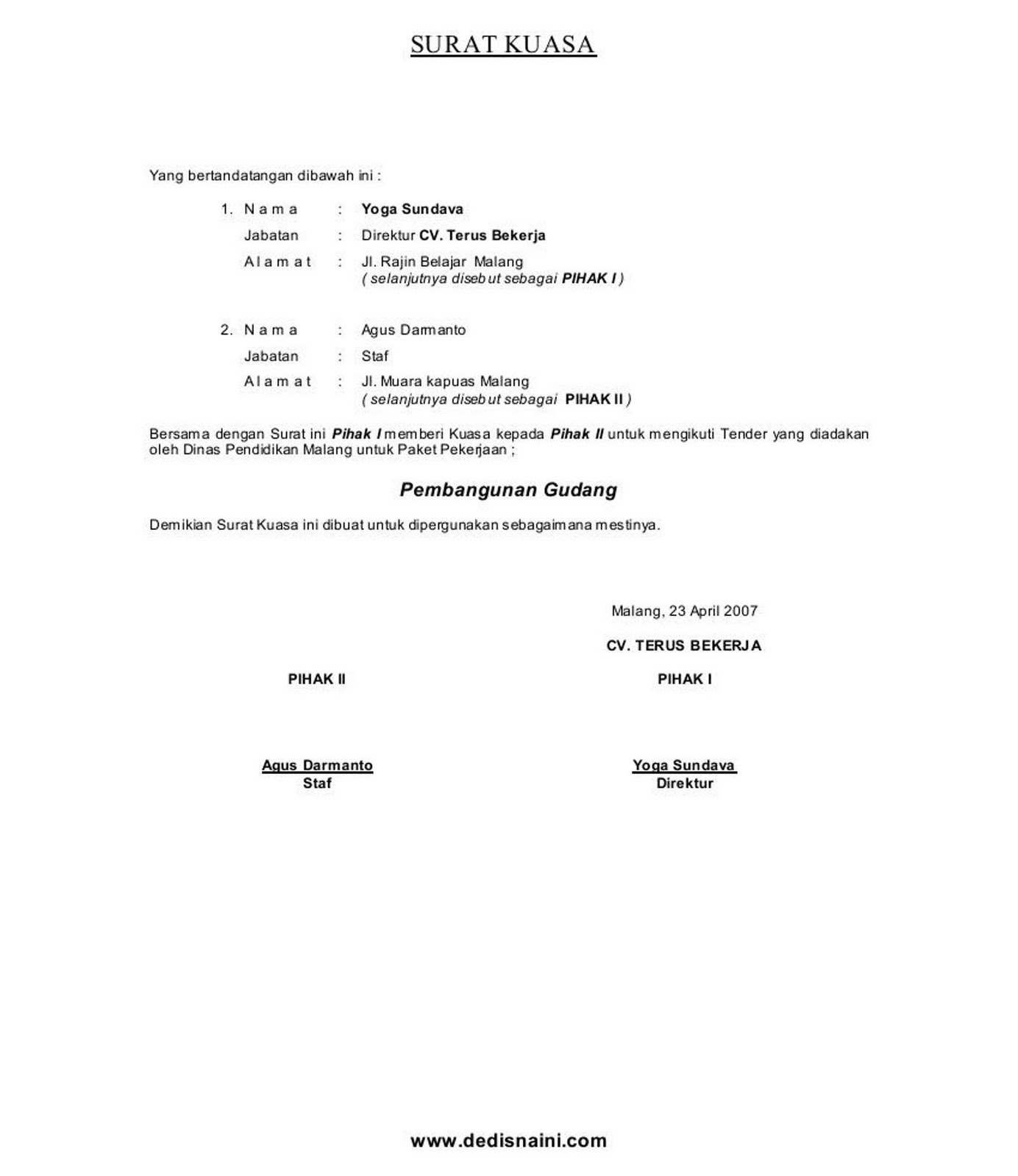 Contoh Surat Kuasa Acara Perdata - Surat 35
