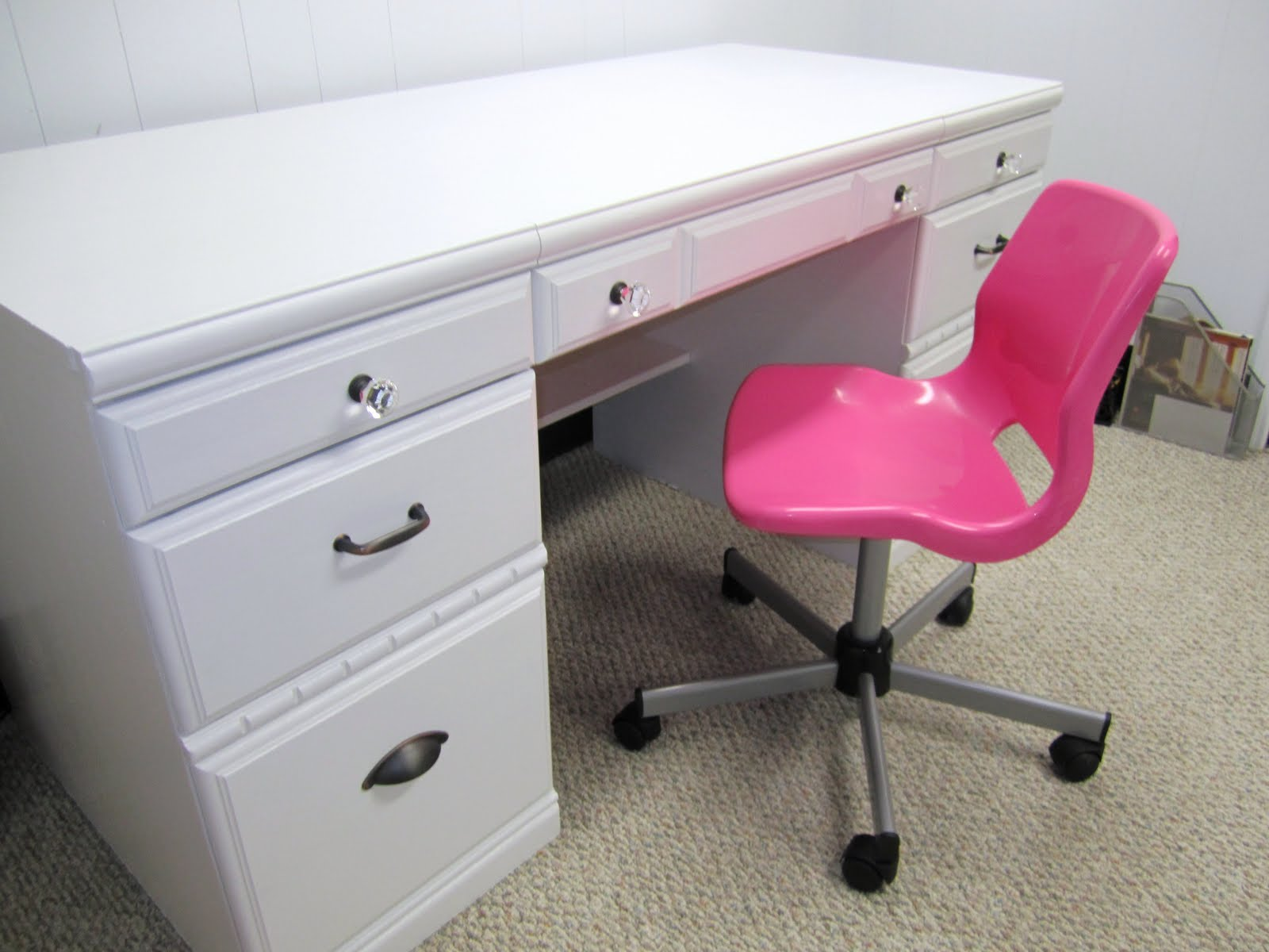 Hot Pink Office Chair Thrift And Shout New Life For An Old Desk