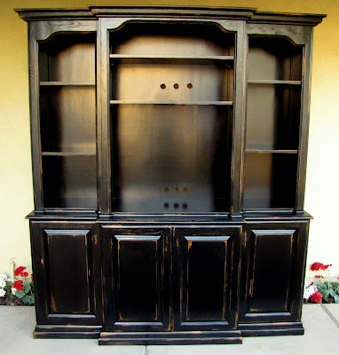 dusty gem decor Black French Country Entertainment Center Hutch