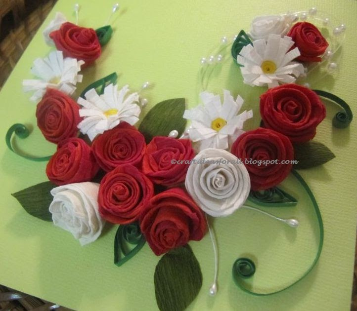 Craft Ideas for all: Paper Quilled Rose and Daisy Wall Art ...