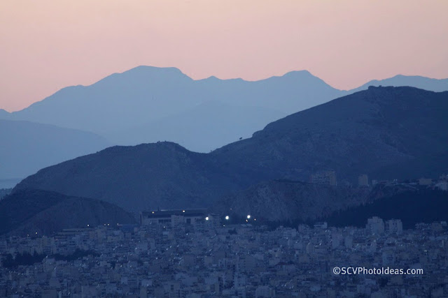 Twilight over Athens - distant first lights