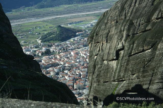 Kalabaka view through Meteora rocks