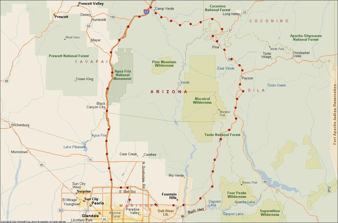 Map Of Highway 87 Arizona.The Crazy Bear Chronicles Arizona Motorcycle Tours State Route