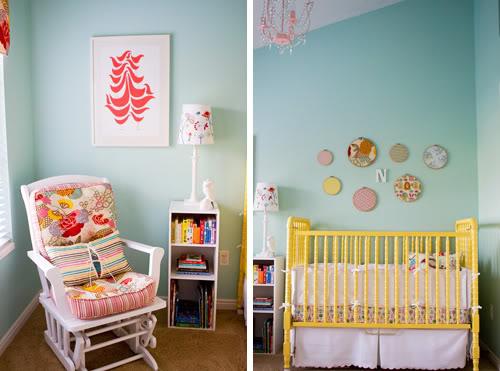 chambre bébé lit jaune