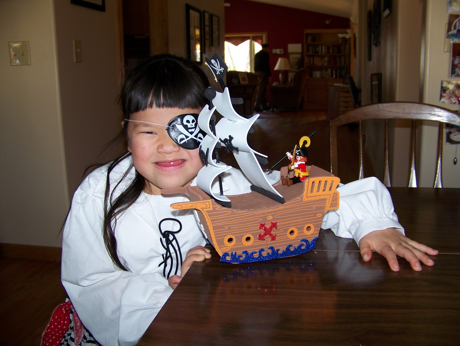 Katherine wanted a pirate party and insisted on wearing her pirate costume. Last night we made a pirate ship to serve as a decoration.  sc 1 st  Red Thread Notes & Red Thread Notes: Almost 7 Year Old Pirate