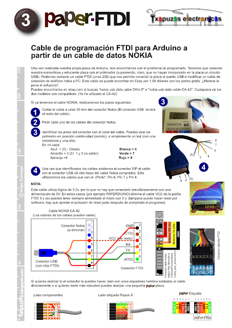 Arduino programming cable made with a Nokia data cable (CA-42)