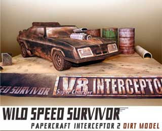 Mad Max V8 Interceptor Papercraft Dirt Model