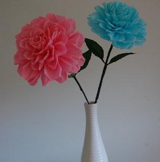 Vase Floral Arrangement Large Paper Flowers Handmade Paper