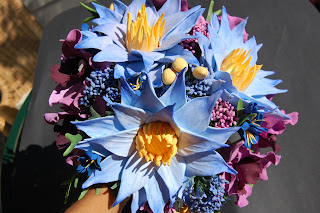 Lotus Water Lily Wedding Bouquet Handmade Paper Flowers By Maria Noble