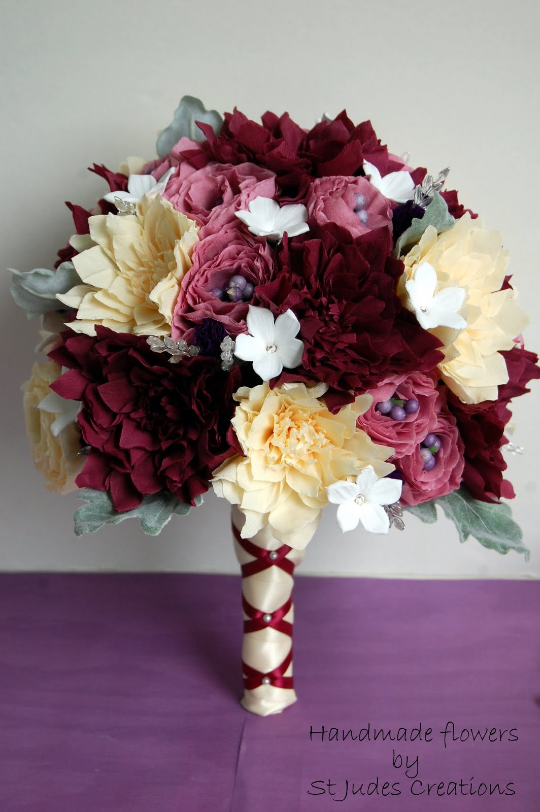Dahlia Wedding Bouquet For Maryann Handmade Paper