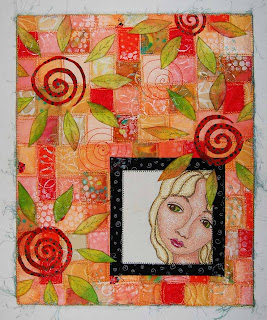 thread painting face girl quilt art